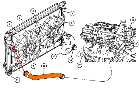 Патрубок радиатора верхний Chrysler Pacifica 2004 - 2008  Патрубок радиатора верхний Крайслер Пацифика 2004 - 2008