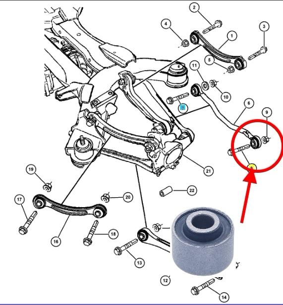 Сайлентблоки задней тяги, задних тяг Chrysler Pacifica 2004-2008.  Сайлентблоки задней тяги, задних тяг Крайслер Пацифика 2004 - 2008.
